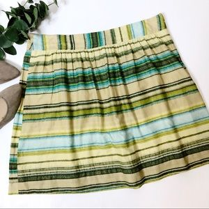 Loft Full Pleated Skirt 10 Striped Cream & Green